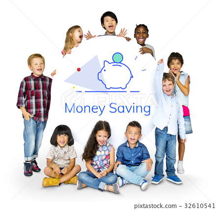 Piggy Bank Money Savings Future Investment Word Graphic 32610541