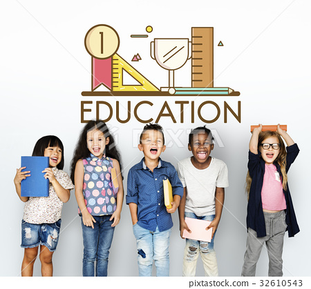Group of students education with stationery illustration 32610543