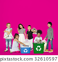 Diverse Group Of Kids Recycling Garbage 32610597