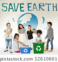 Little Kids with Recycle Sign Eco Friendly Save Earth Word Graphic 32610601