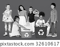 Diverse Group Of Kids Recycling Garbage 32610617