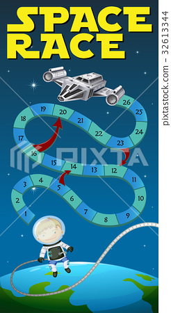 game template with astronaut and spaceship stock illustration