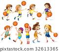 Girls and boys playing basketball 32613365