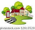 Neighborhood scene with house and road 32613520