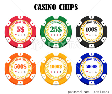 set of a real colorful casino chips 32613623