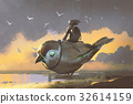 young girl sitting on giant futuristic bird 32614159