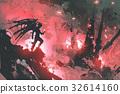 devil standing on ruins of buildings 32614160