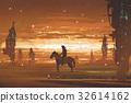 man riding horse against futuristic city in desert 32614162