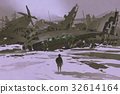 man looking at remains of destroyed planes  32614164