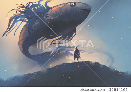 giant fish floating in the sky above man in cloak 32614165