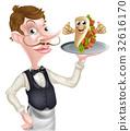 Cartoon Waiter and Thumbs Up Kebab 32616170