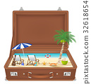 suitcase open with sea and beach scene in side 32618654