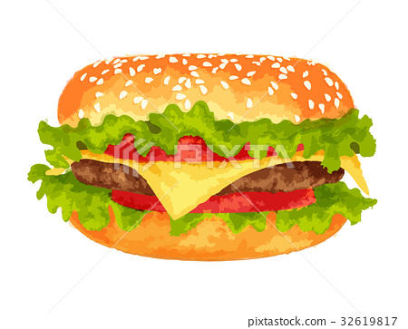 Big burger on white background 32619817
