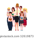 Female teacher surrounded by students, pupils 32619873