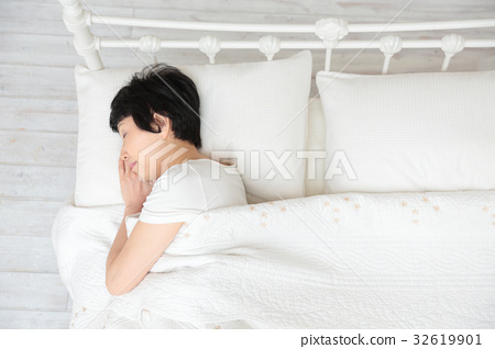 Middle Aged Women Bedroom Bird S Eye View Stock Photo