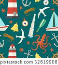 nautical, seamless, pattern 32619908