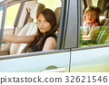 Mother driver and little girl in car safety seat. 32621546