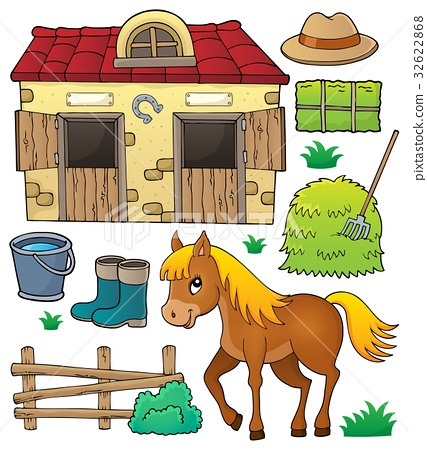Horse and related objects theme set 32622868