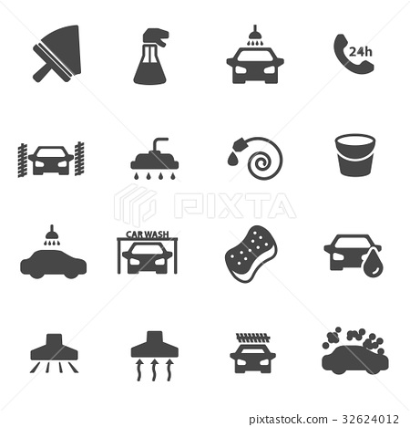 Vector black car wash icons set 32624012