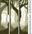 Vertical banners of tree trunks with grass. 32626352