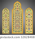 Stained-glass windows with flowers ornament 32628468