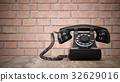 3D rendering black vintage phone isolated on wood  32629016