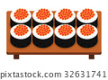 Sushi roll with caviar, japanese food. 32631741