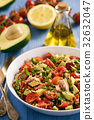 Healthy salad with tuna,cherry tomatoes, avocado. 32632047