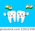 Cute cartoon tooth character waving India flag. 32632398