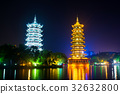 Guilin towers in park in Guangxi, China 32632800