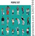 Diverse of People Enjoy Music Lifestyle Studio Isolated 32637944