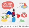 Kids playing treasure hunt graphic 32638434