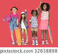 Children Girlfriends Smiling Happiness Friendship Togetherness Studio Portrait 32638898