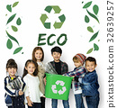 Little Kids with Recycle Sign Eco Friendly Save Earth Word Graphic 32639257