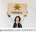 People holding placard with skull icon and chemicals dangerous 32639572