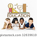 Group of students education with stationery illustration 32639610