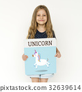 Young girl holding banner network graphic overlay 32639614