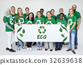 Group of Diverse People Showing Recycle Sign Eco Friendly Save Earth Word Graphic 32639638