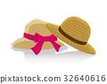 夏のイメージのイラスト|ペアの麦わら帽子 32640616