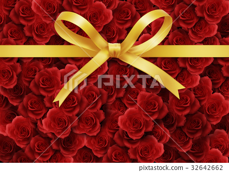 Background material Red rose (roses) Yellow ribbon 32642662