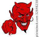 Devil Pointing Cartoon Character 32646230
