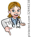 Woman Doctor Cartoon Character Pointing 32646238