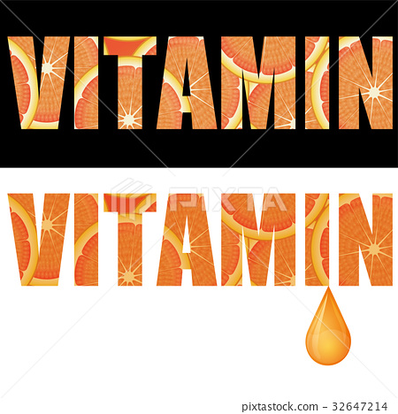 VITAMIN rich image of vitamins   Orange in letters 32647214