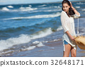 Full length portrait of a  woman  on the beach 32648171