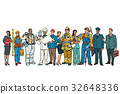 Set people of different professions standing in a 32648336