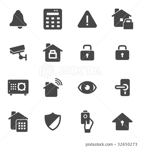 Vector black home security icons set 32650273