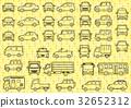 包括簡單的汽車正面和水平(線條圖)網格 32652312