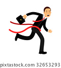 Businessman character crossing finish line 32653293