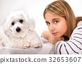 Portrait of beautiful girl and maltese dog. 32653607