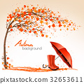 Autumn banners with trees and umbrella  32653611